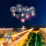 Bright fireworks explosions in night sky Royalty Free Stock Photography