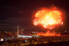 Bright fireworks explosions in night sky in Moscow, Russia Royalty Free Stock Images