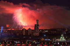 Bright fireworks explosions in night sky in Moscow, Russia Stock Photography