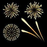 Bright fireworks in honor of the Feast on a black background. illustrations Royalty Free Stock Image