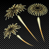 Bright fireworks in honor of the Feast on gradient background illustration Stock Photos