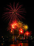 Bright fireworks on New Year's Eve Royalty Free Stock Images