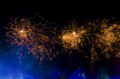 Bright fireworks at night Royalty Free Stock Photography