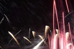 Bright fireworks in the night sky Royalty Free Stock Photo