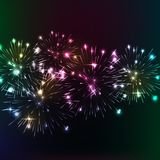 Bright fireworks. Shimmering reflections. Vector background Celebration Royalty Free Stock Photography