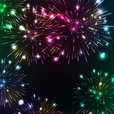 Bright fireworks. Shimmering reflections. Vector background Celebration Royalty Free Stock Image