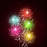 Bright Fireworks Show. Holiday bright multicolor celebration pyrotechnics show at night Stock Photos