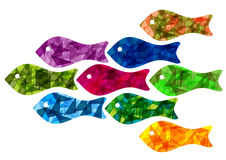 Bright fish background. Color background with simple fish silhouettes Royalty Free Stock Photography