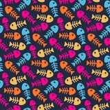 Bright fish bones pattern. Abstract vector seamless bright fish bones pattern Royalty Free Stock Images