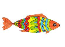 Bright Fish in red, blue, yellow, green colors. royalty free illustration