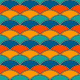 Bright fish scale wallpaper. Asian traditional ornament with repeated scallops. Seamless pattern with semicircles. Bright color fish scale wallpaper. Asian Royalty Free Stock Photos