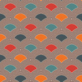 Bright fish scale wallpaper. Asian traditional ornament with repeated scallops. Seamless pattern with vivid semicircles. Bright colors fish scale wallpaper Stock Photo