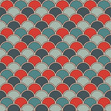 Bright fish scale wallpaper. Asian traditional ornament with repeated scallops. Seamless pattern with vivid semicircles. Bright colors fish scale wallpaper Stock Photography