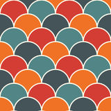 Bright fish scale wallpaper. Asian traditional ornament with repeated scallops. Seamless pattern with vivid semicircles. Bright colors fish scale wallpaper Stock Images