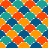 Bright fish scale wallpaper. Asian traditional ornament with repeated scallops. Seamless pattern with vivid semicircles. Bright colors fish scale wallpaper Royalty Free Stock Photo