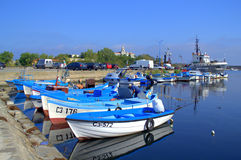 Bright Fishermen Boats Port View,Sozopol Stock Images