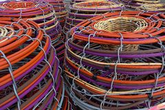 Bright Fishing Baskets stock photos