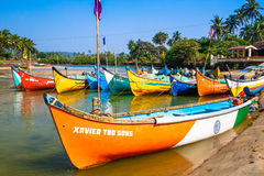 Bright fishing boats on the river bank Royalty Free Stock Photo
