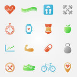 Bright fitness icons set Royalty Free Stock Images