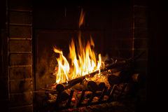 Bright flame of fire burns in a fireplace Stock Image