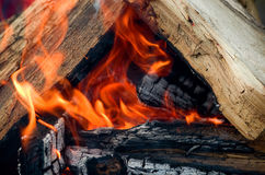 Bright flame in the fire with firewood. Selective focus Royalty Free Stock Image