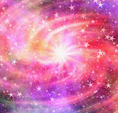 Bright flash in dreamy space stars background Royalty Free Stock Photos