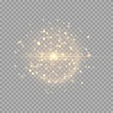 Golden shiny flash. A bright flash with golden sparks on a transparent background. Vector illustration with colorful light effect Royalty Free Stock Photography