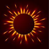 A bright flash of light in the darkness. The rays of the sun. Or stars. Round frame for your design. Explosive energy of the cosmos. Vector illustration Royalty Free Stock Images