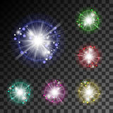 Bright flash to shine and bokeh particles on a transparent backg Stock Image