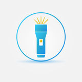 Bright flashlight vector icon. Simple flashlight blue symbol Royalty Free Stock Photography