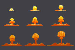 Bright Flat Explosion Animation Set. With fog and smoke effects on gray background isolated vector illustration Royalty Free Stock Image