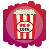 Bright flat Popcorn icon. The sign of the cinema. Single Royalty Free Stock Photos