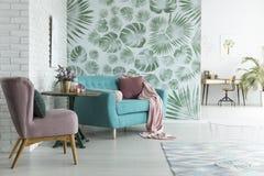 Monstera wallpaper in living room