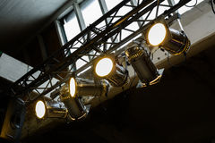 Bright floodlights attached to a steel frame. Horizontal view of Royalty Free Stock Photography