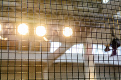 Bright floodlights attached to a steel frame. Horizontal view of Stock Photo