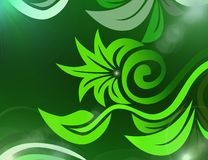 Bright floral abstract background full of green. Flower shapes on a dark green background and glowing rays of light stock illustration