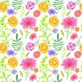 Bright summer flowers seamless pattern on white background. stock illustration