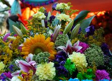 Bright floral arrangement of different flowers and plants royalty free stock photography