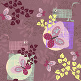 Bright floral background. Abstract floral and cats seamless pattern vector illustration