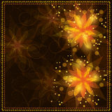 Bright floral background with golden ornament Stock Photo