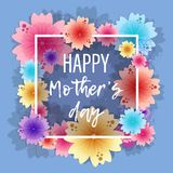 Bright floral background for 8 March, mother`s day. Bright floral greeting card for 8 March, happy women`s day, mother`s day. Blue background with cute Royalty Free Illustration