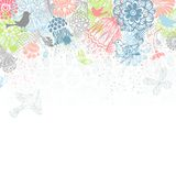 Bright floral background. Ornate pattern of butterflies, flowers and birds on white background. There is place for your text on bottom Stock Images