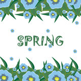 Bright floral background with the word spring Stock Photo