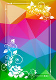 Bright floral border. Abstract floral border on a bright multicolored polygonal background Stock Photos