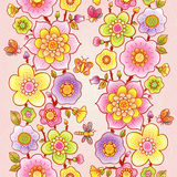 Bright floral border. Bright floral border with butterfly and dragonfly on pink background. Place for your text. It can be used for decorating of wedding Royalty Free Stock Photos