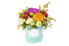 Bright floral bouquet arrangement in a box on white background Royalty Free Stock Photo