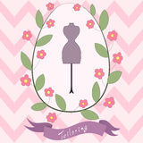 Bright floral card with cute cartoon tailoring Stock Images