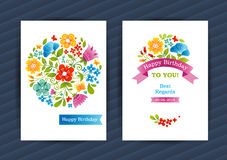 Bright floral cards in summer style. stock illustration