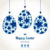 Bright floral eggs for Easter design. Royalty Free Stock Photo