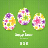 Bright floral eggs for Easter design. Stock Photography